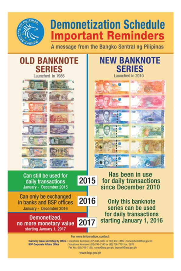 BSP Reminder - Demonetization Schedule