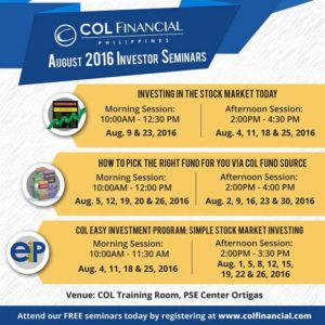 COL Financial Free Investor Seminars for August 2016