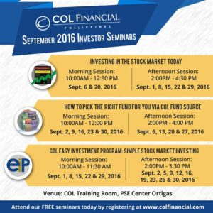 COL Financial Free Investor Seminars for September 2016