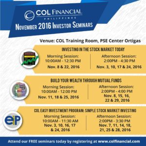 Free COL Financial November 2016 Investor Seminars